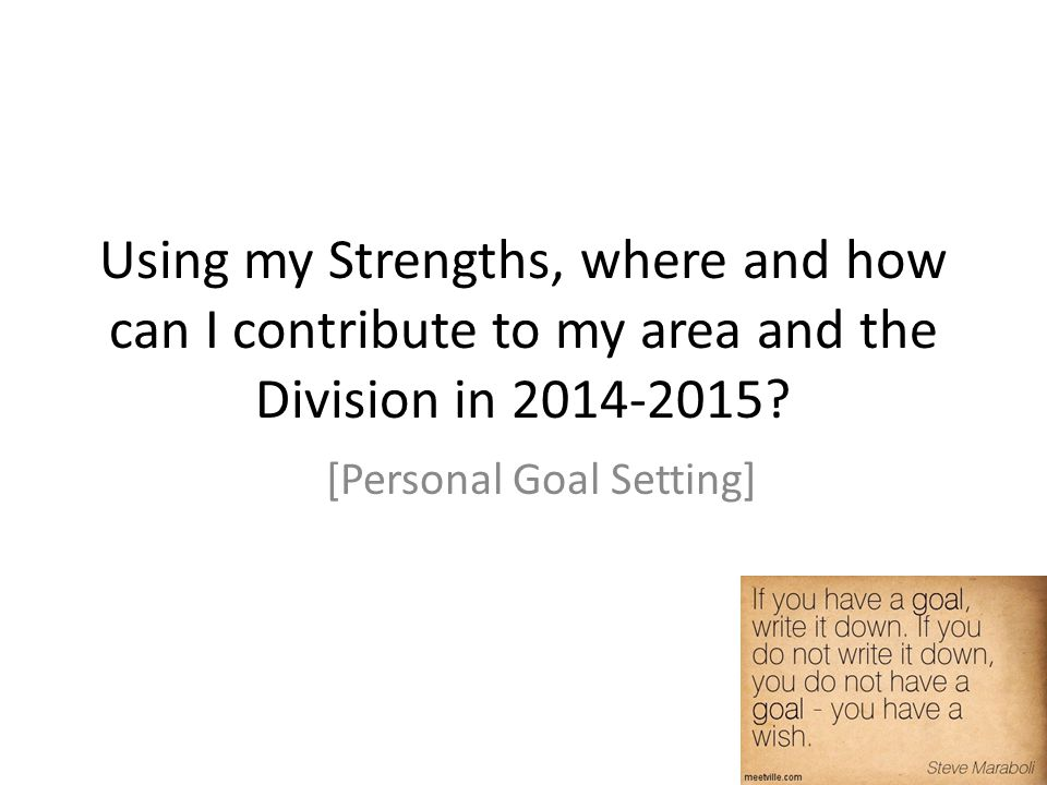 [Personal Goal Setting]